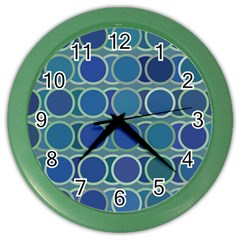 Circles Abstract Blue Pattern Color Wall Clocks by Nexatart