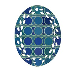 Circles Abstract Blue Pattern Oval Filigree Ornament (two Sides) by Nexatart
