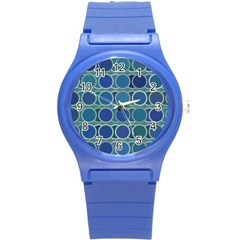 Circles Abstract Blue Pattern Round Plastic Sport Watch (s) by Nexatart