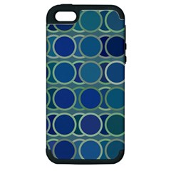 Circles Abstract Blue Pattern Apple Iphone 5 Hardshell Case (pc+silicone)