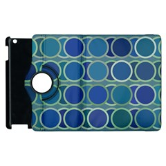 Circles Abstract Blue Pattern Apple Ipad 3/4 Flip 360 Case by Nexatart