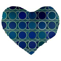 Circles Abstract Blue Pattern Large 19  Premium Heart Shape Cushions
