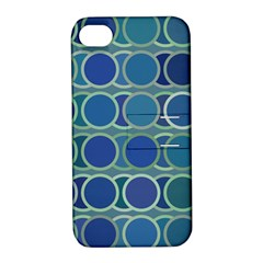 Circles Abstract Blue Pattern Apple Iphone 4/4s Hardshell Case With Stand
