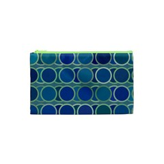 Circles Abstract Blue Pattern Cosmetic Bag (xs) by Nexatart