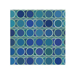 Circles Abstract Blue Pattern Small Satin Scarf (square)