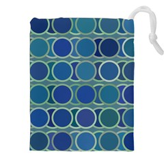 Circles Abstract Blue Pattern Drawstring Pouches (xxl) by Nexatart