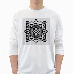 Celtic Draw Drawing Hand Draw White Long Sleeve T Shirts