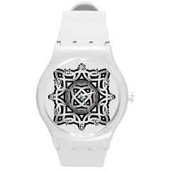 Celtic Draw Drawing Hand Draw Round Plastic Sport Watch (m)