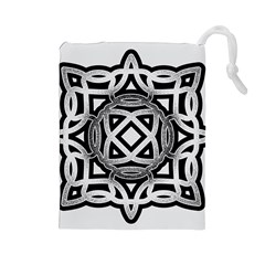 Celtic Draw Drawing Hand Draw Drawstring Pouches (large)  by Nexatart