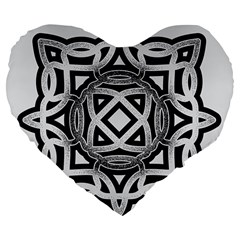 Celtic Draw Drawing Hand Draw Large 19  Premium Flano Heart Shape Cushions