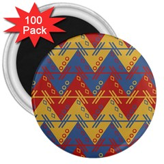Aztec Traditional Ethnic Pattern 3  Magnets (100 Pack) by Nexatart