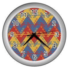 Aztec Traditional Ethnic Pattern Wall Clocks (silver)  by Nexatart