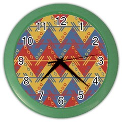 Aztec Traditional Ethnic Pattern Color Wall Clocks by Nexatart