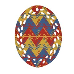 Aztec Traditional Ethnic Pattern Oval Filigree Ornament (two Sides) by Nexatart