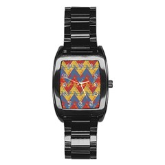 Aztec Traditional Ethnic Pattern Stainless Steel Barrel Watch