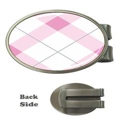 Tablecloth Stripes Diamonds Pink Money Clips (oval)  by Nexatart