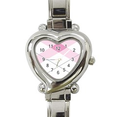 Tablecloth Stripes Diamonds Pink Heart Italian Charm Watch by Nexatart