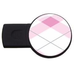 Tablecloth Stripes Diamonds Pink Usb Flash Drive Round (4 Gb) by Nexatart