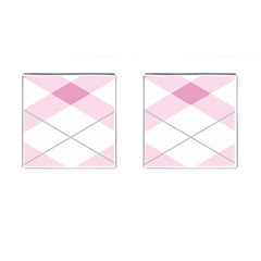 Tablecloth Stripes Diamonds Pink Cufflinks (square)