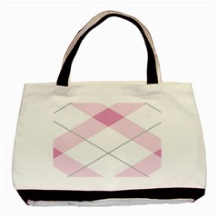 Tablecloth Stripes Diamonds Pink Basic Tote Bag by Nexatart