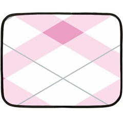 Tablecloth Stripes Diamonds Pink Double Sided Fleece Blanket (Mini)