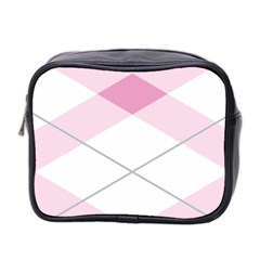 Tablecloth Stripes Diamonds Pink Mini Toiletries Bag 2 Side by Nexatart
