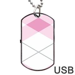 Tablecloth Stripes Diamonds Pink Dog Tag Usb Flash (one Side) by Nexatart