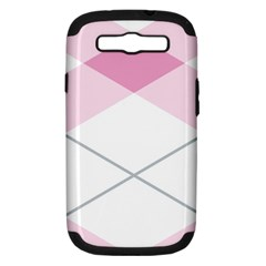 Tablecloth Stripes Diamonds Pink Samsung Galaxy S Iii Hardshell Case (pc+silicone) by Nexatart