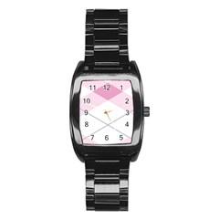 Tablecloth Stripes Diamonds Pink Stainless Steel Barrel Watch by Nexatart