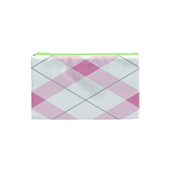 Tablecloth Stripes Diamonds Pink Cosmetic Bag (xs)