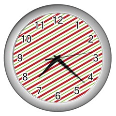 Stripes Striped Design Pattern Wall Clocks (silver)  by Nexatart