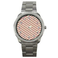 Stripes Striped Design Pattern Sport Metal Watch by Nexatart