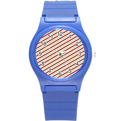 Stripes Striped Design Pattern Round Plastic Sport Watch (s) by Nexatart