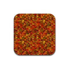 Gold Mosaic Background Pattern Rubber Square Coaster (4 Pack)  by Nexatart