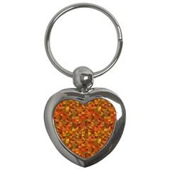 Gold Mosaic Background Pattern Key Chains (heart)  by Nexatart