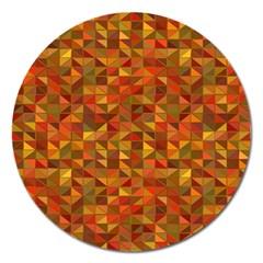 Gold Mosaic Background Pattern Magnet 5  (round) by Nexatart