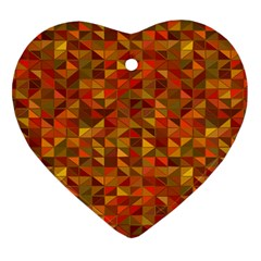 Gold Mosaic Background Pattern Heart Ornament (two Sides) by Nexatart