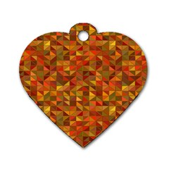 Gold Mosaic Background Pattern Dog Tag Heart (two Sides)