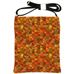 Gold Mosaic Background Pattern Shoulder Sling Bags by Nexatart
