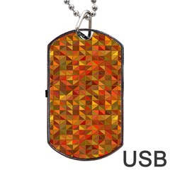 Gold Mosaic Background Pattern Dog Tag Usb Flash (one Side)