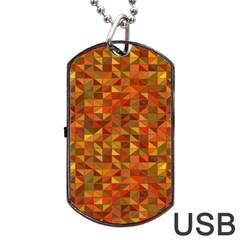 Gold Mosaic Background Pattern Dog Tag Usb Flash (one Side) by Nexatart