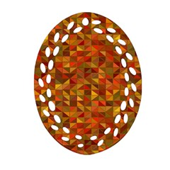 Gold Mosaic Background Pattern Oval Filigree Ornament (two Sides) by Nexatart