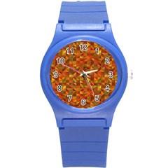 Gold Mosaic Background Pattern Round Plastic Sport Watch (s) by Nexatart