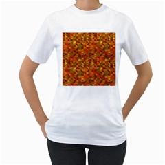 Gold Mosaic Background Pattern Women s T Shirt (white)  by Nexatart