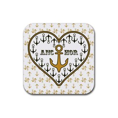 Anchor Heart Rubber Square Coaster (4 Pack)  by Nexatart