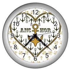 Anchor Heart Wall Clocks (silver)