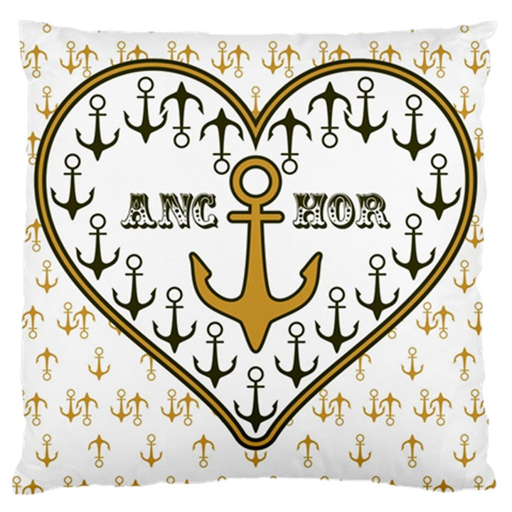 Anchor Heart Large Cushion Case (Two Sides)