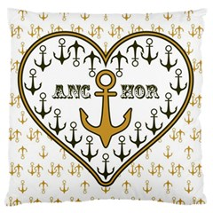 Anchor Heart Large Flano Cushion Case (one Side) by Nexatart