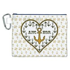Anchor Heart Canvas Cosmetic Bag (xxl) by Nexatart