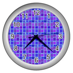 Background Mosaic Purple Blue Wall Clocks (silver)  by Nexatart